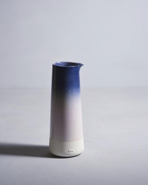 Pinguim Karaffe Blau & Rosa gesprenckelt