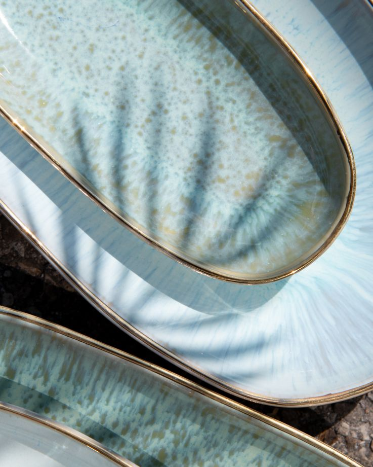 Areia Servierplatte S mit Goldrand mint