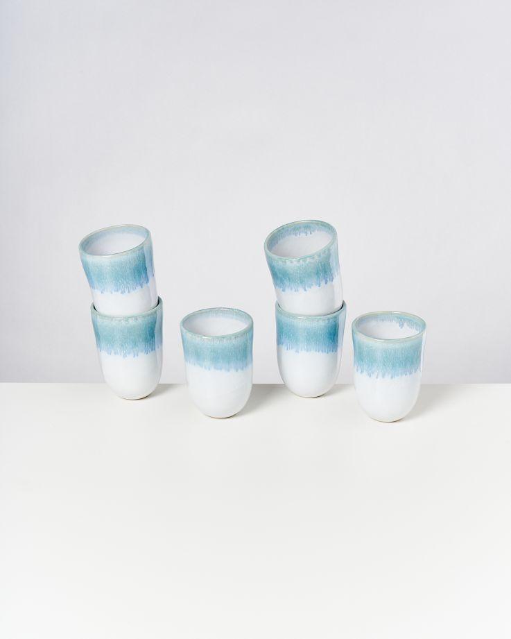 ALCACHOFRA - Set of 6 Cups big greenblue