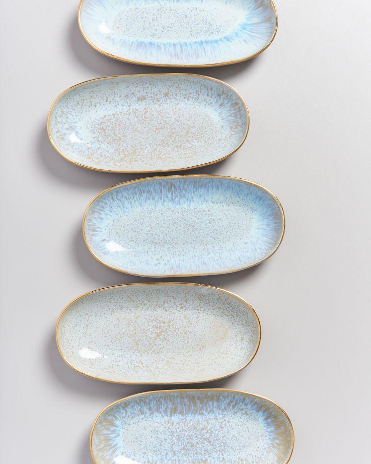 Areia Servierplatte M mit Goldrand azur