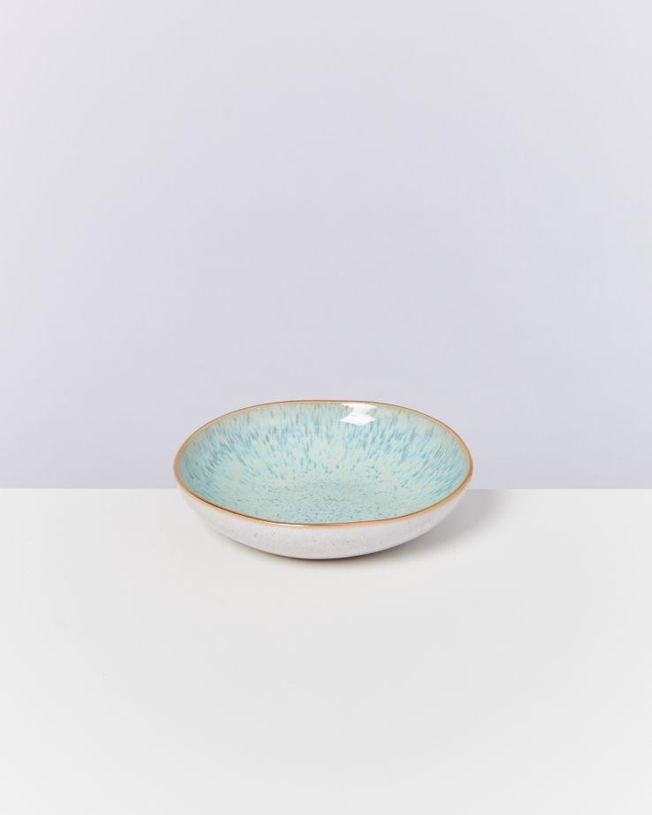 AREIA - Mini plate white mint gold rim