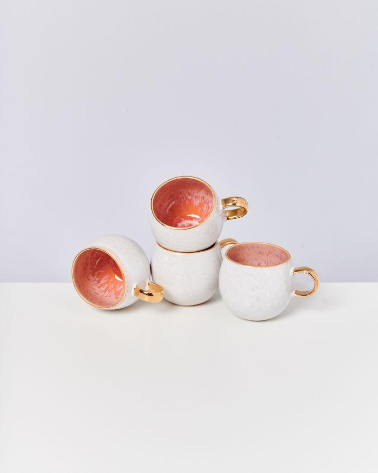Areia 4er Set Tasse groß pink mit Gold