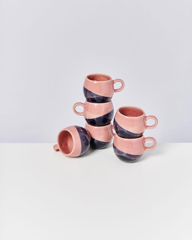 Bica 6er Set Tasse klein pink navy