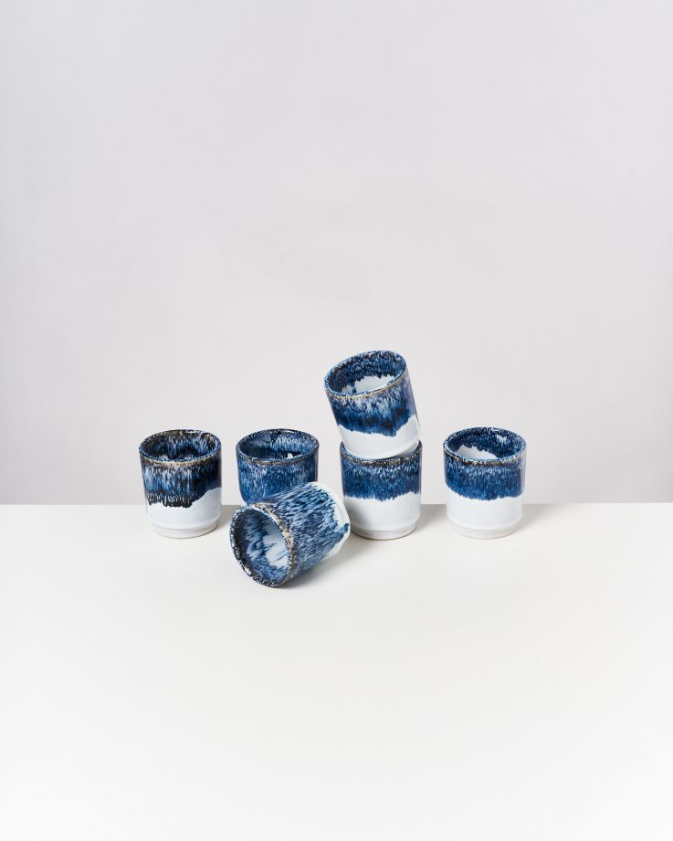 Cordoama 6er Set Becher blau gesprenkelt