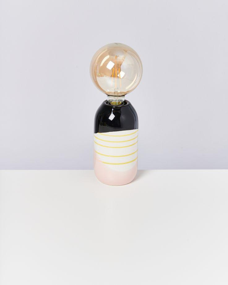 Farol Lampe schwarz rosa gelb gestreift