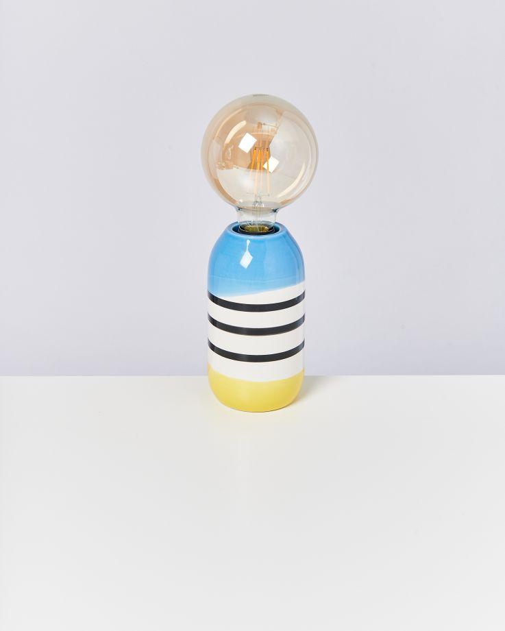 Farol Lampe schwarz-weiß gestreift mit blau