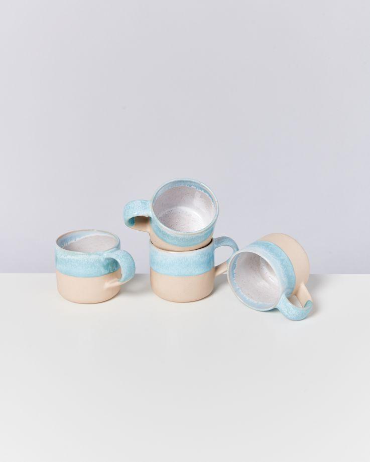 Nódoa 4er Set Tasse Blue dipped