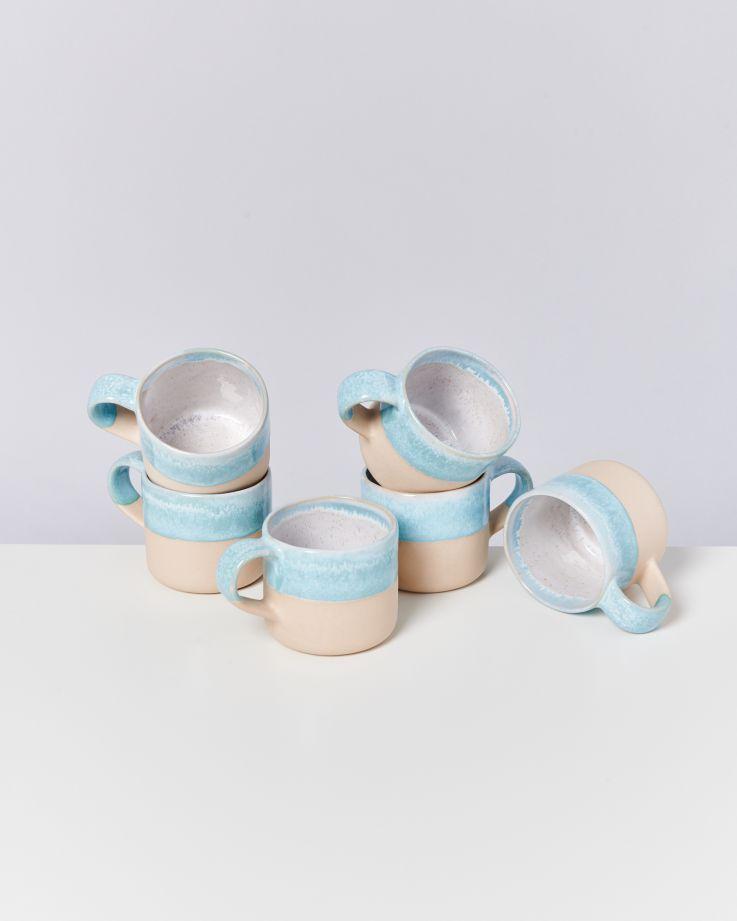 Nódoa 6er Set Tasse Blue dipped