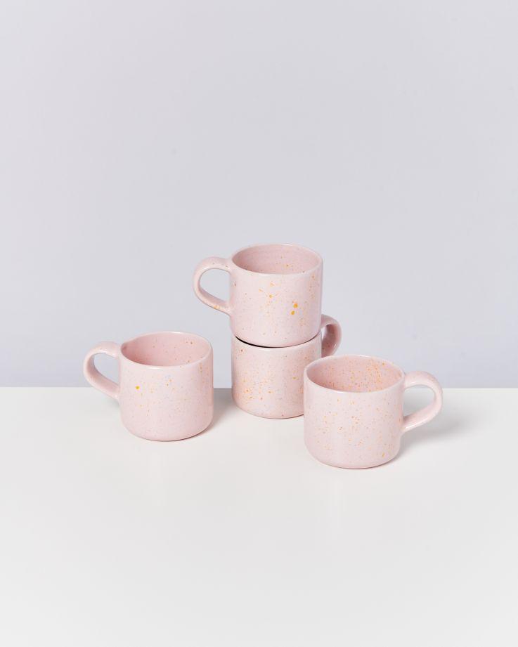 Nódoa 4er Set Tasse rosa gesprenkelt