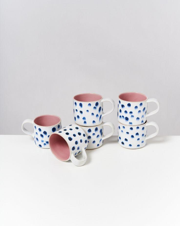 Nódoa 6er Set Tasse rosa mit Punkten