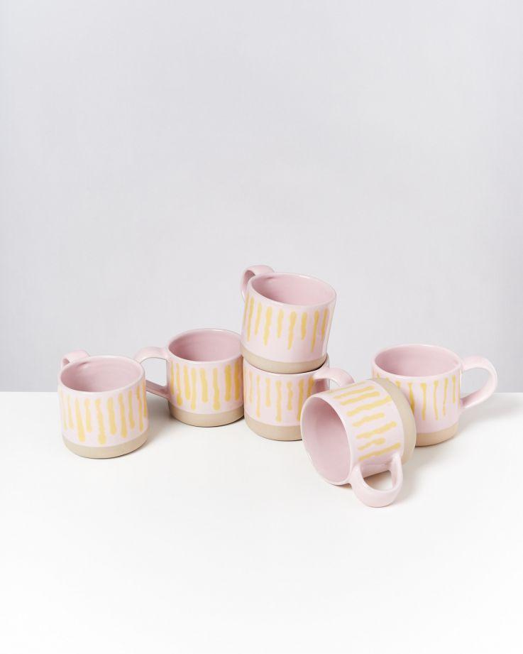Nódoa 6er Set Tasse rosa gelb gestreift