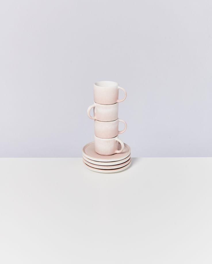 Zavial rose - Set of 4 Espressomugs with Saucer