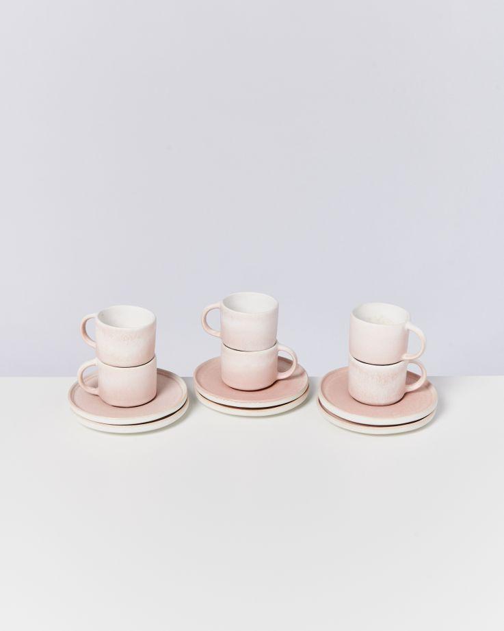 Zavial rose - Set of 6 Espressomugs with Saucer
