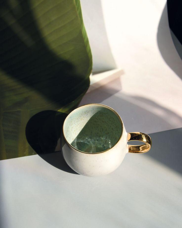 Areia Tasse groß mint mit Gold