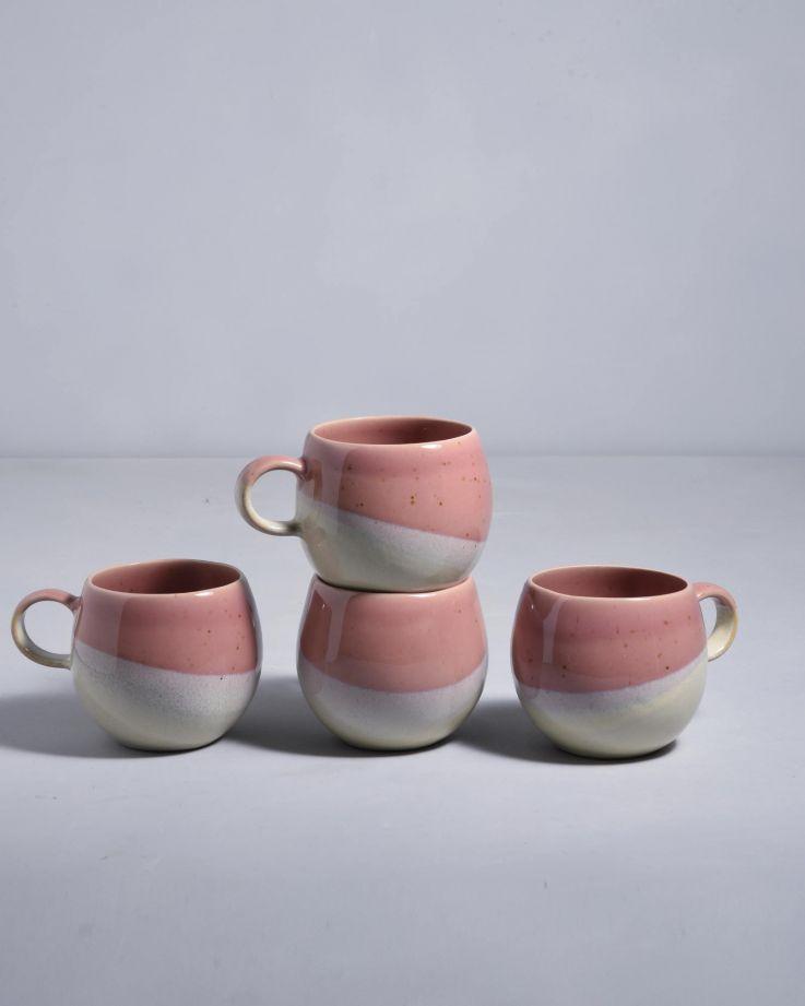 Bica 4er Set Tasse groß pink cream