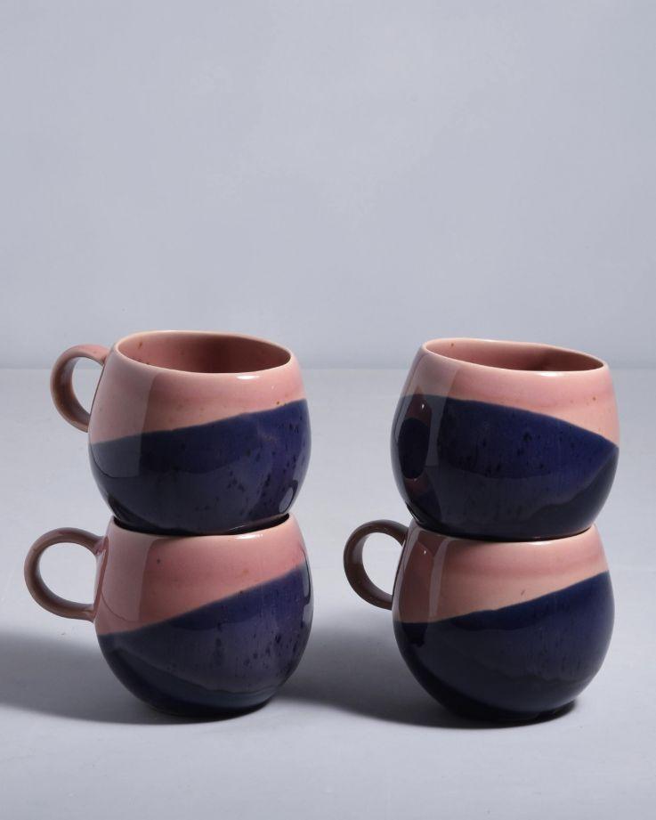 Bica 4er Set Tasse groß pink navy
