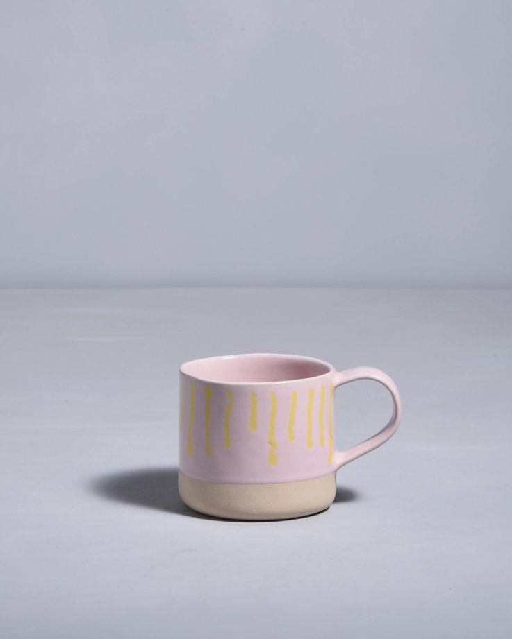 Nódoa Tasse rosa gelb gestreift