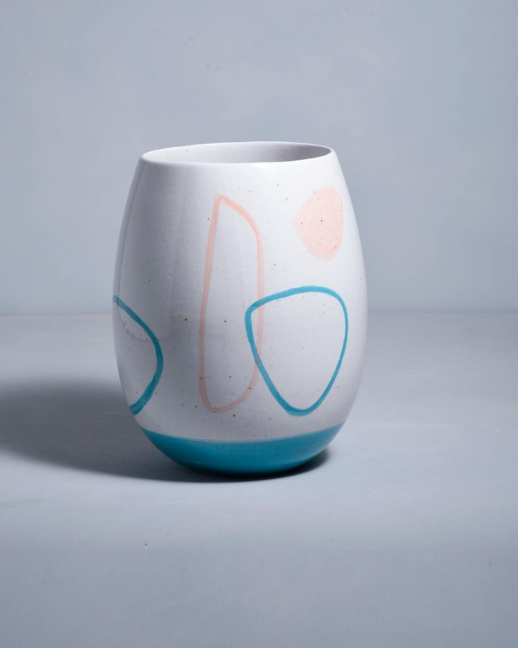 Vaso arts weiss blau rosa
