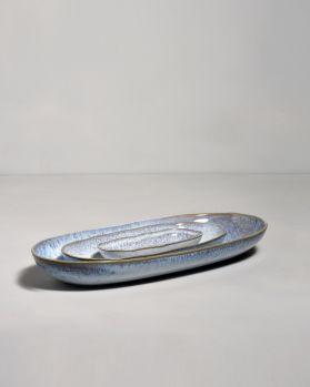 Frio Ovale Servierplatte L blau weiss 2