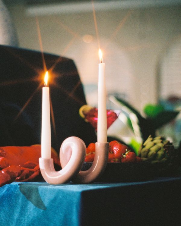 Motel a Miio x Ju Schnee Mala candle holder rose white speckled 2