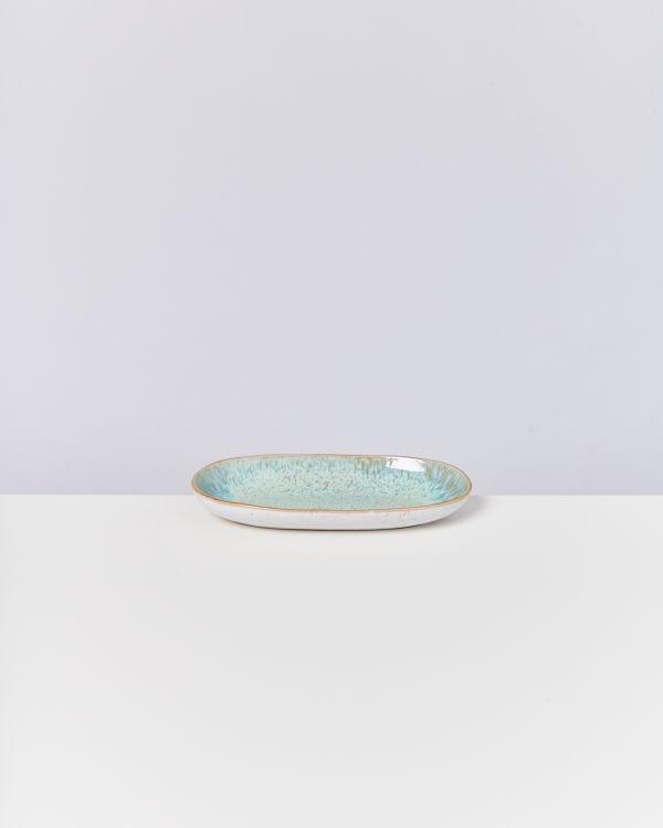 AREIA - Serving Platter M mint with golden rim 2