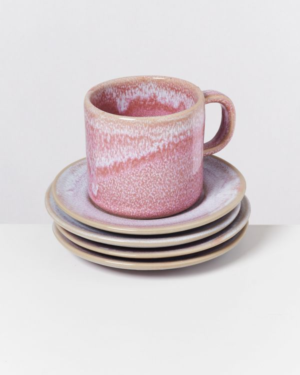 CORDOAMA - Set of 4 Saucers rose 2