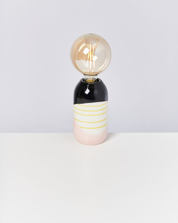 FAROL - Lamp black rose yellow stripes 2