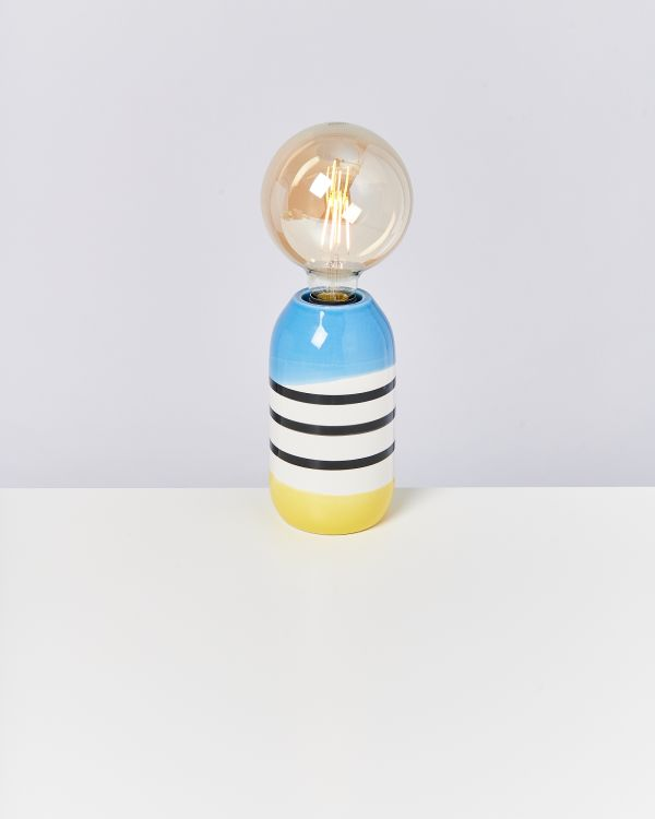 FAROL - Lamp black white striped with blue 2