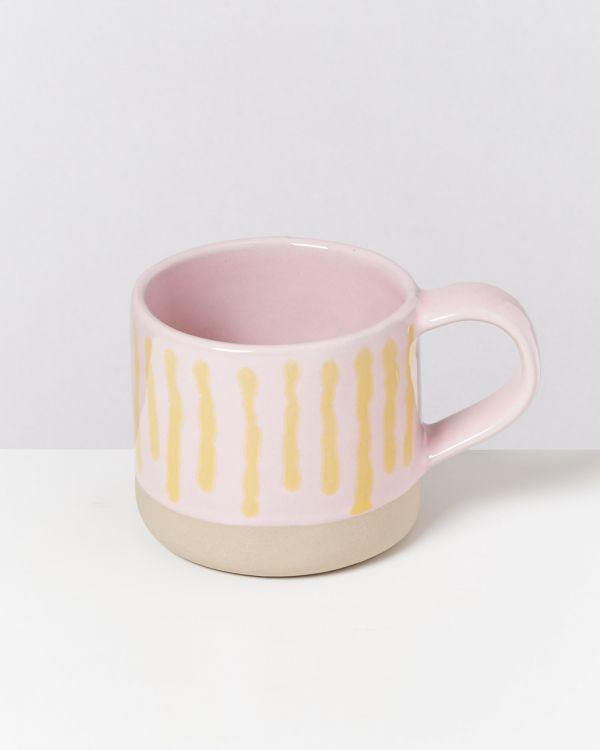 Nódoa 4er Set Tasse rosa gelb gestreift 2