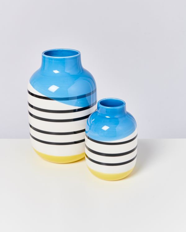 NUNO M - black & white striped with blue 2