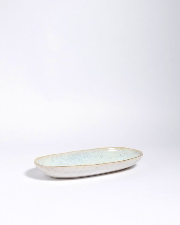 AREIA - Serving Platter M azure with golden rim 2