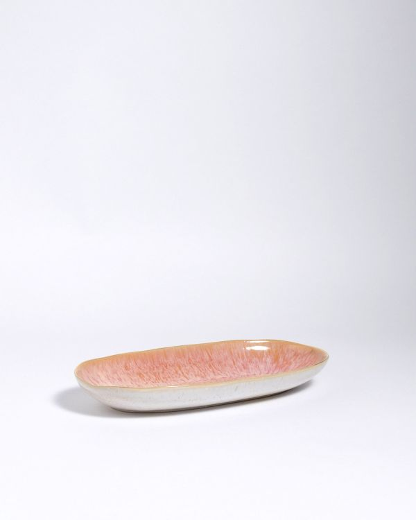 AREIA - Serving Platter M pink with golden rim 2