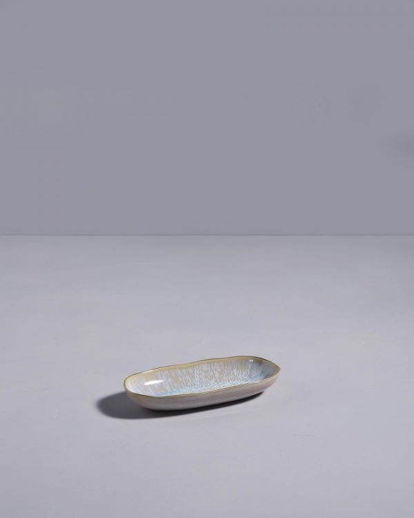 AREIA -Serving Platter S azure with golden rim 2
