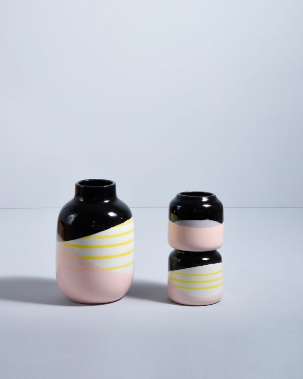Bebé schwarz rosa gelb gestreift 2