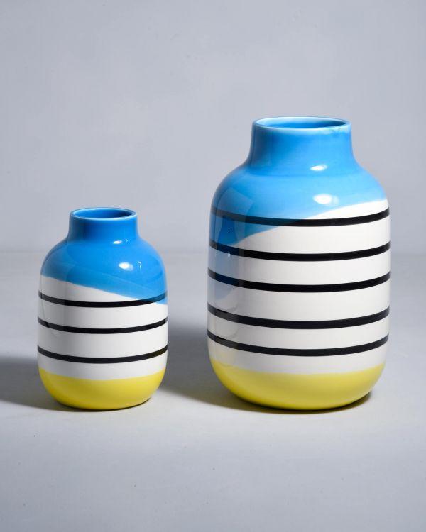 NUNO - black white striped with blue 2