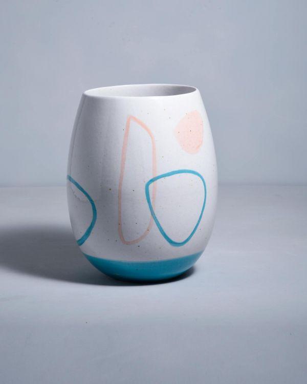 Vaso arts weiss blau rosa 2