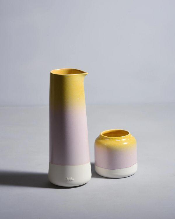 Pinguim Karaffe Gelb & Rosa gesprenckelt 2