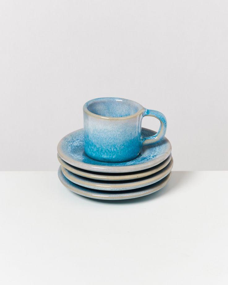 Cordoama 4er Set Espresso-Untertasse aqua 2