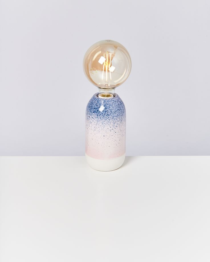 Farol Lampe blau gesprenkelt 2
