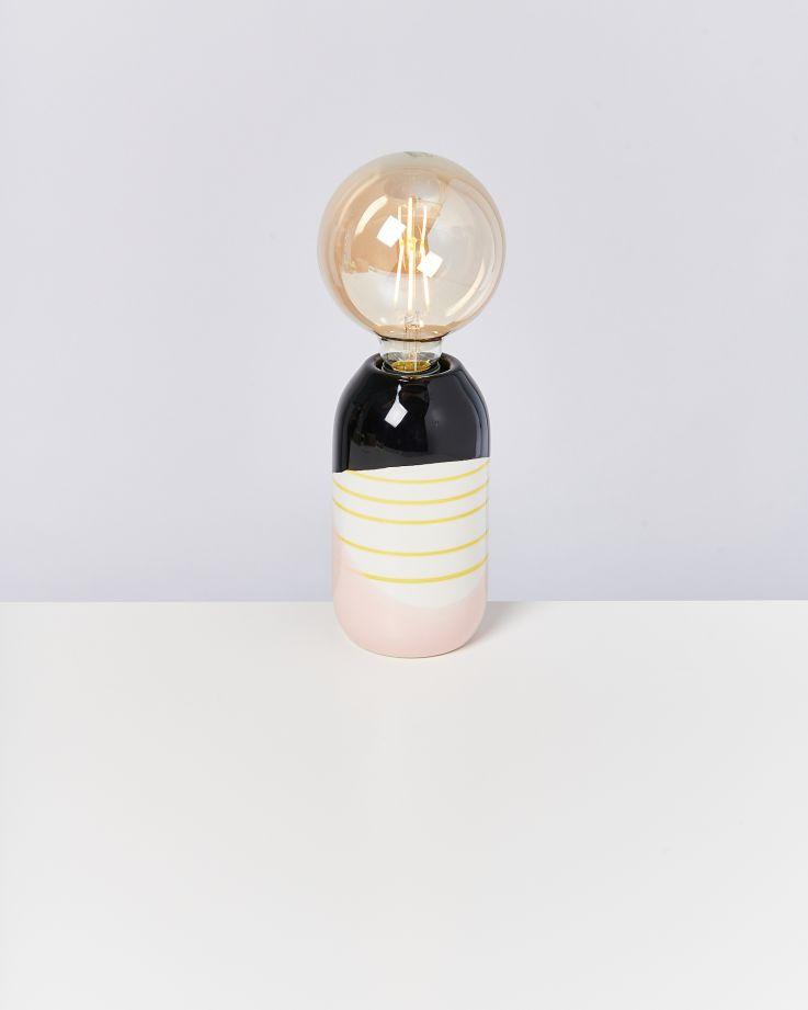 Farol Lampe schwarz rosa gelb gestreift 2
