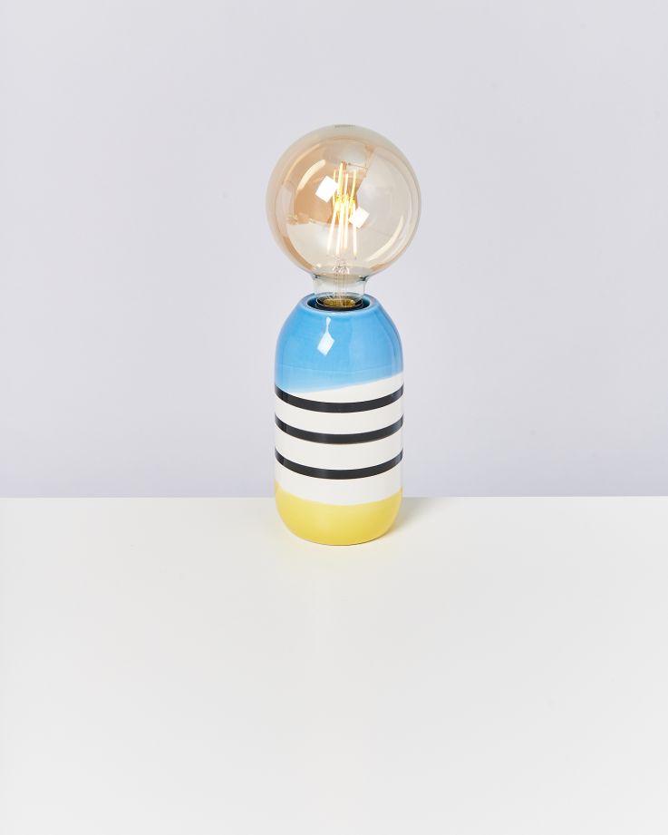 Farol Lampe schwarz-weiß gestreift mit blau 2