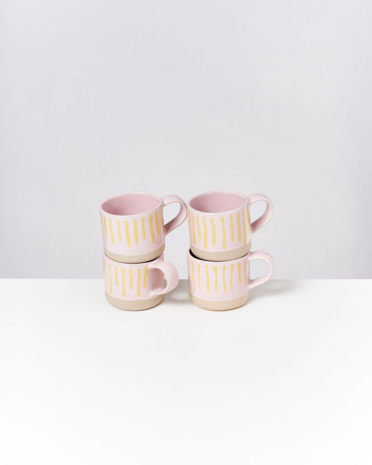 Nódoa Tasse rosa gelb gestreift 2