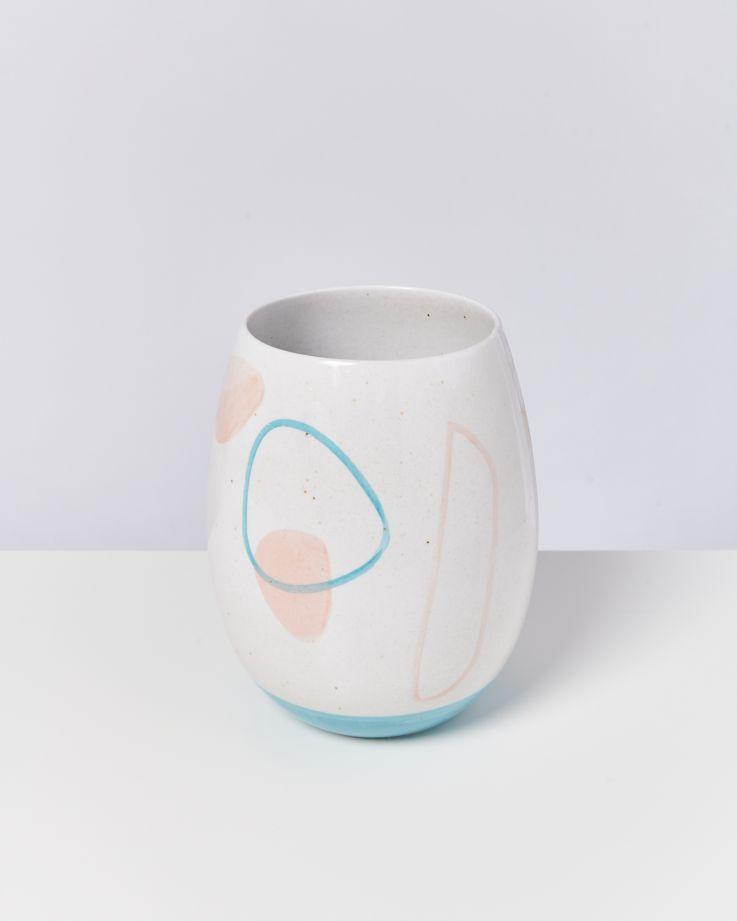 Vaso arts weiß blau rosa 2