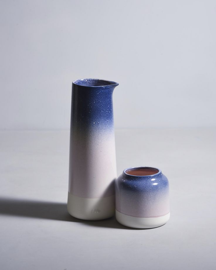 Pinguim Karaffe Blau & Rosa gesprenckelt 2