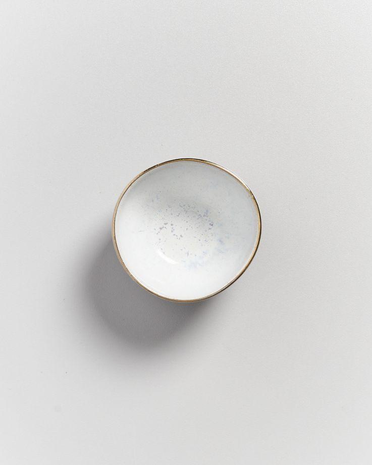 AREIA - Saucebowl white with golden rim 3