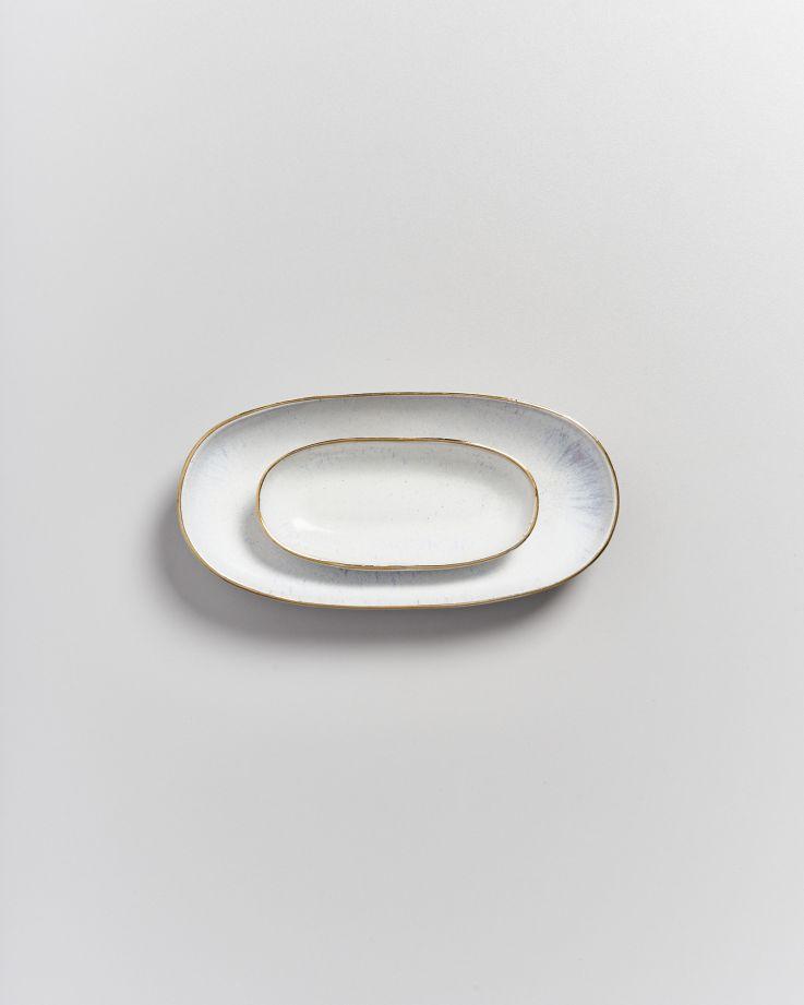 AREIA - Serving Platter S white with golden rim 3