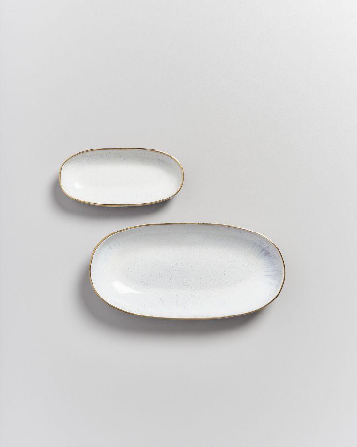 Areia Servierplatte M mit Goldrand weiß 3