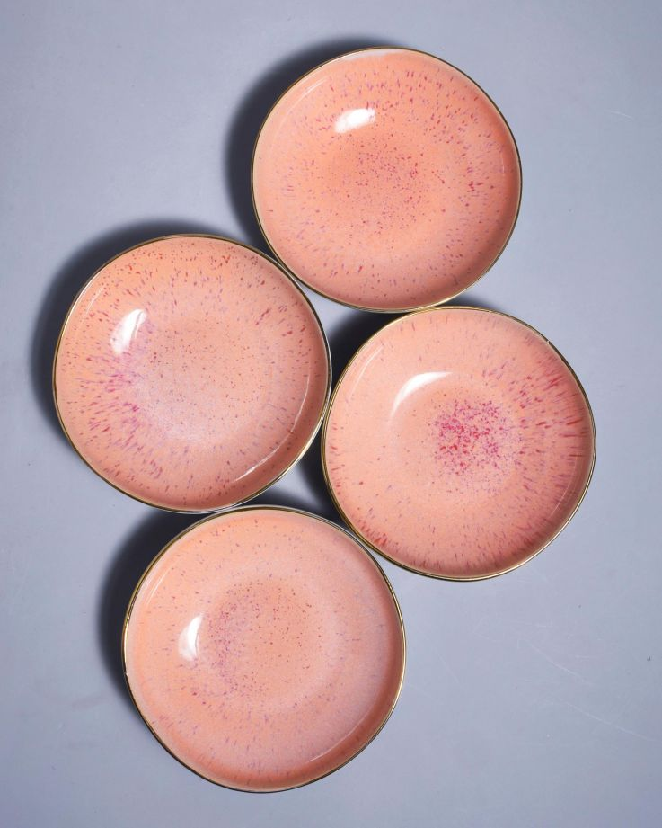 Areia Miniteller mit Goldrand pink 3