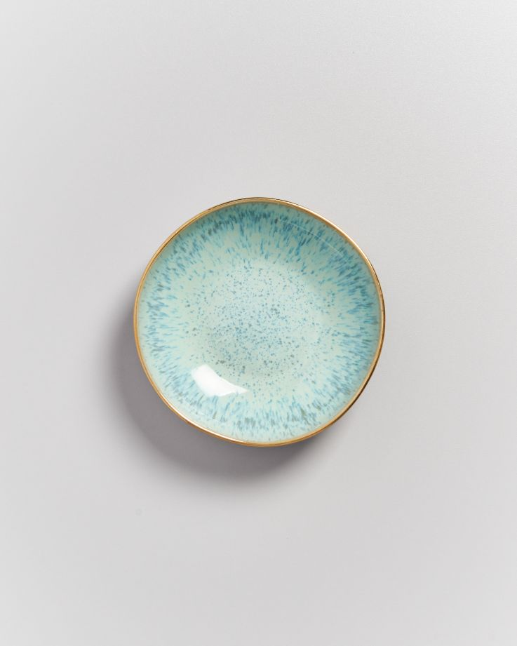 AREIA - Mini plate white mint gold rim 4